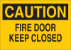 Brady B-401 High Impact Polystyrene Rectangle Yellow Emergency & Fire Exit Sign - 14 in Width x 10 in Height - TEXT: CAUTION FIRE DOOR KEEP CLOSED - 22512 -- 754476-22512