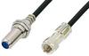 75 Ohm F Male to 75 Ohm F Female Bulkhead Cable 36 Inch Length Using 75 Ohm PE-B159-BK Black Coax -- PE38138/BK-36 -Image