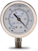 -30 to 0in Hg Liquid fill vacuum Pressure Gauge 2.5in mechanical dial -- G25-SLV-4LS - Image