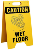 Brady Prinzing Polyethylene Rectangle Yellow Floor Stand Sign - 12 in Width x 20 in Height - TEXT: CAUTION WET FLOOR - SF648E -- 754473-46336