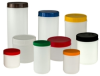 White Canisters and Colored Lids -- 2570