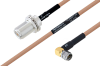 MIL-DTL-17 N Female Bulkhead to SMA Male Right Angle Cable 36 Inch Length Using M17/128-RG400 Coax -- PE3M0077-36 -Image