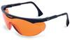 Uvex Skyper Polycarbonate Standard Safety Glasses SCT-Orange Lens - Black Frame - Wrap Around Frame - 603390-092244 -- 603390-092244