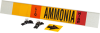 Brady B-681, B-883 Black / Orange / Red / White on Yellow Polyester Strap-On Pipe Marker - 3 1/2 in Character Height - Printed Msg = AMMONIA - 59939 -- 754476-59939 - Image