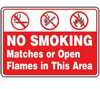 MSMKG54VA - Safety Sign, No Smoking Matches Or Open Flames In This Area (symbols), 10 X 14, Aluminum -- EW-61014-90