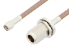 SMA Male to N Female Bulkhead Cable 36 Inch Length Using RG400 Coax -- PE33117-36 -Image