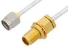 2.92mm Male to 2.92mm Female Bulkhead Cable 24 Inch Length Using PE-SR405FL Coax, LF Solder, RoHS -- PE34749LF-24 -Image
