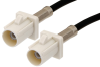 White FAKRA Plug to FAKRA Plug Cable 48 Inch Length Using PE-C100-LSZH Coax -- PE38747B-48 -Image