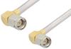 SMA Male Right Angle to SMA Male Right Angle Cable 48 Inch Length Using PE-SR402AL Coax -- PE34208LF-48 -Image