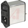 AC inlet with line filter, switch, fuseholder, 1-pole, 2 amp filter, 5x20mm fuse -- 70080279 - Image