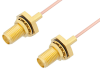 SMA Female Bulkhead to SMA Female Bulkhead Cable 12 Inch Length Using PE-047SR Coax -- PE33789-12 -Image