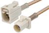 White FAKRA Plug to FAKRA Jack Cable 48 Inch Length Using RG316 Coax -- PE38756B-48 -Image