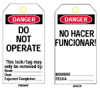 Heavy Duty Laminated Lockout Tags (B-837; English/Spanish; Heavy Duty Polyester; 5 1/2