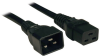 C19 to C20 Heavy-Duty Extension Cord - 15A, 250V, 14 AWG, 6 ft., Black -- P036-006-15A