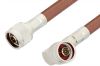 N Male to N Male Right Angle Cable 60 Inch Length Using RG393 Coax, RoHS -- PE3255LF-60 -Image