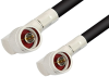N Male Right Angle to N Male Right Angle Cable 72 Inch Length Using RG8 Coax, RoHS -- PE33974LF-72 -Image