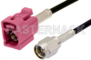 SMA Male to Violet FAKRA Jack Cable 24 Inch Length Using RG174 Coax -- PE39199H-24 -Image