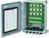 "BNC termination box, 8"" x 6"" x 4"" NEMA 4X (IP66) fiberglass enc, 12 channels, terminal strip input, BNC jack output, 12 PGME07 cord grips -- 691A50_12 -- View Larger Image"