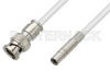 75 Ohm Mini SMB Plug to 75 Ohm BNC Male Cable 24 Inch Length Using 75 Ohm PE-B159-WH White Coax -- PE38040/WH-24 -Image