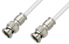 75 Ohm BNC Male to 75 Ohm BNC Male Cable 24 Inch Length Using 75 Ohm PE-B159-WH White Coax -- PE38130/WH-24 -Image