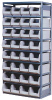 Gray Storage Rack with 32 Beige Bins 36W x 18D x 75H -- 52306