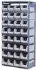 Gray Storage Rack with 32 Beige Bins 36W x 18D x 75H -- 52306