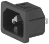 IEC Appliance Inlet C16, Snap-in Mounting, Front Side, Solder or Quick-connect Terminal -- 6110-4 -Image
