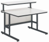 Height Adjustable Computer Table with Modesty Panel -- Multi-Media Support Furniture