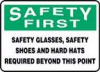 Accuform Safety Glasses, Safety Shoes and Hard Hats Required Beyond this Point Sign -- sf-19804914