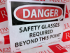 NATIONAL MARKER D108AB ( DANGER SIGN METAL 14X10IN SAFETY GLASSES REQUIRED ) -Image
