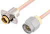 Slide-On BMA Jack 2 Hole Flange to SMA Male Cable 36 Inch Length Using RG405 Coax -- PE3C4882-36 -Image