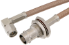 SMA Male Right Angle to BNC Female Bulkhead Cable 24 Inch Length Using RG400 Coax -- PE34957-24 -- View Larger Image