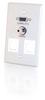 Single Gang HD15 + 3.5mm + (2) Keystone Wall Plate - Brushed Aluminum -- 2225-40544-ADT