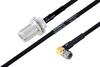 MIL-DTL-17 N Female Bulkhead to SMA Male Right Angle Cable 200 cm Length Using M17/84-RG223 Coax -- PE3M0049-200CM -Image