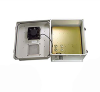 14x12x07 Fiberglass Reinf Polyester FRP Weatherproof Outdoor IP24 NEMA 3R Enclosure, 120 VAC MNT PLT, Mechanical Thermostat Heat & Fan Gray -- TEF141207-1HF -Image