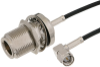 SMA Male Right Angle to N Female Bulkhead Cable 36 Inch Length Using RG174 Coax -- PE34351-36 -Image