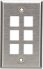 6-Port Single-Gang Keystone Stainless Steel Wallplate -- WP374 - Image