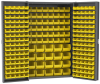 Akro-Mils 1500 lb Gray Yellow Powder Coated Steel 16 ga Non-Stackable Bin Cabinet - 48 in Overall Length - 24 in Width - 72 in Height - 228 Drawer - 160 Bins - Lockable - HD4824F -- HD4824F - Image
