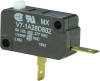 MICRO SWITCH V7 Series Miniature Basic Switch, Single Pole Normally Open Circuitry, 5 A at 125 Vac, Pin Plunger, 150 gf Maximum Operating Force, Silver Contacts, Quick Connect Termination -- V7-1A28D882 -Image