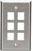Stainless Steel Wallplate, Keystone, Single-Width, 6-Punch -- WP374-Image