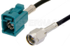 SMA Male to Water Blue FAKRA Jack Cable 24 Inch Length Using PE-C100-LSZH Coax -- PE39347Z-24 -Image