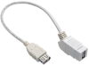 USB 2.0 All-in-One Keystone/Panel Mount Coupler Cable (F/F), Angled Connector, White, 1 ft. -- U060-001-KPA-WH - Image