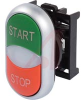 PUSHBUTTON, DOUBLE PUSHBUTTON OPERATOR WITH CENTER LIGHT, MOMENTARY, GREEN TOP C -- 70057752