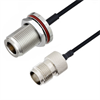 N Female Bulkhead to TNC Female Cable Assembly using LC085TBJ Coax, 4 FT -- LCCA30656-FT4 -Image