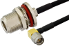 SMA Male Right Angle to N Female Bulkhead Semi-Flexible Precision Cable 18 Inch Length Using PE-SR402FLJ Coax, LF Solder, RoHS -- PE39470-18 -Image