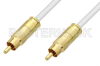 75 Ohm RCA Male to 75 Ohm RCA Male Cable 60 Inch Length Using 75 Ohm PE-B159-WH White Coax -- PE38133/WH-60 -Image