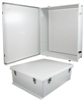 30x24x11 UL Listed Fiberglass Reinf Polyester FRP Weatherproof Outdoor IP66 NEMA 4 Enclosure, Kit Bundled w/ Blank Plastic Mount Plate Gray -- NB302411-KIT01 -Image
