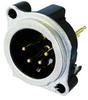 4-Pole XLR Male Receptacle, Vertical PCB Mount -- NEUNC4MBV - Image