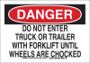 Brady B-555 Aluminum Rectangle White Truck & Forklift Warehouse Traffic Sign - 10 in Width x 7 in Height - 129519 -- 754473-78589