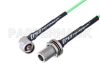 N Male Right Angle to N Female Bulkhead Low Loss Cable 150 CM Length Using PE-P160LL Coax -- PE3C5286-150CM -Image